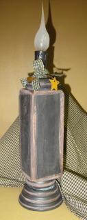 Wooden Spindle Candle Light, black
