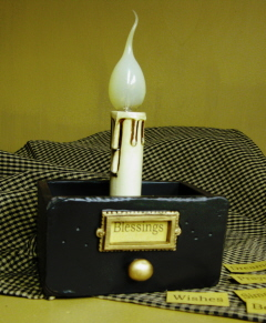 Vintage Drawer Candle Light, black