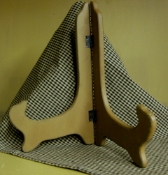 """9"""" wood plate stand, mustard"""