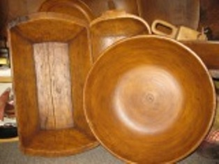 "Antique Reproduction Wood-like ""Treen' Bowls & Trenchers"